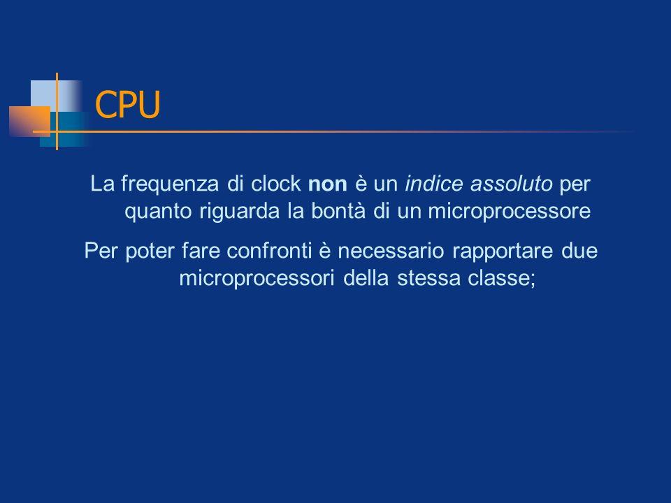 CPU La frequenza di clock non è un indice assoluto per quanto riguarda la bontà di un microprocessore.