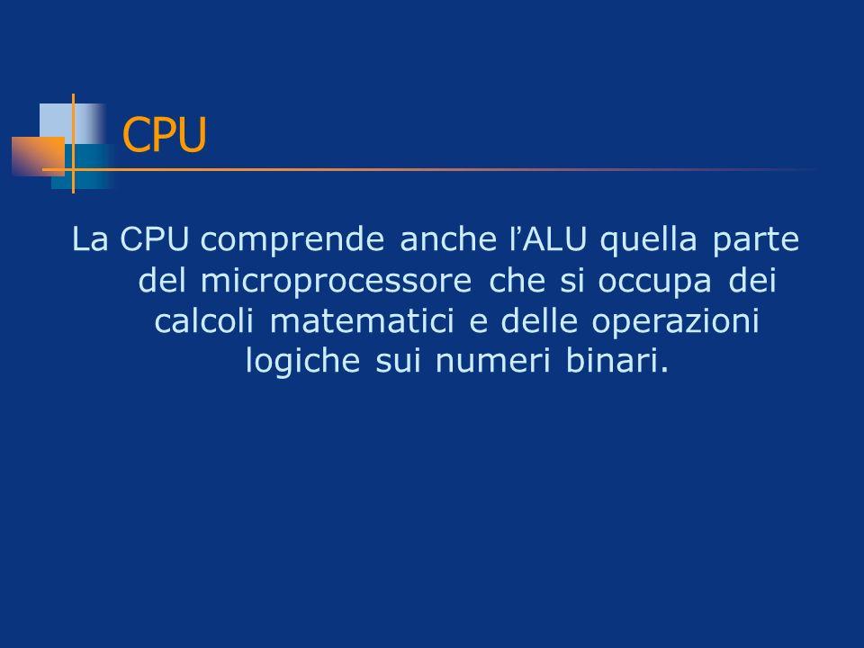 CPU La CPU comprende anche l'ALU quella parte del microprocessore che si occupa dei calcoli matematici e delle operazioni logiche sui numeri binari.