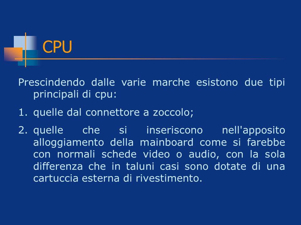 CPU Prescindendo dalle varie marche esistono due tipi principali di cpu: quelle dal connettore a zoccolo;