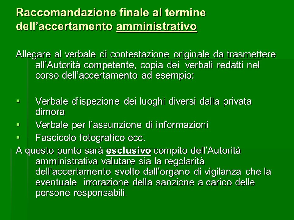 Raccomandazione finale al termine dell'accertamento amministrativo