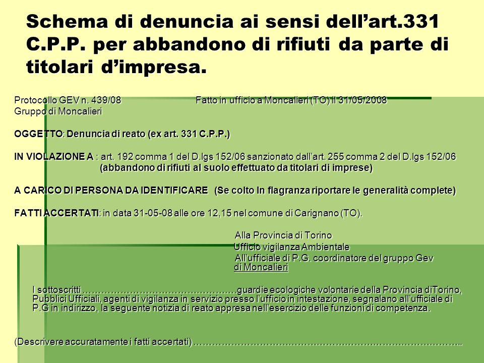 Schema di denuncia ai sensi dell'art. 331 C. P. P
