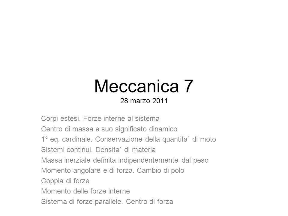 Meccanica 7 28 marzo 2011 Corpi estesi. Forze interne al sistema