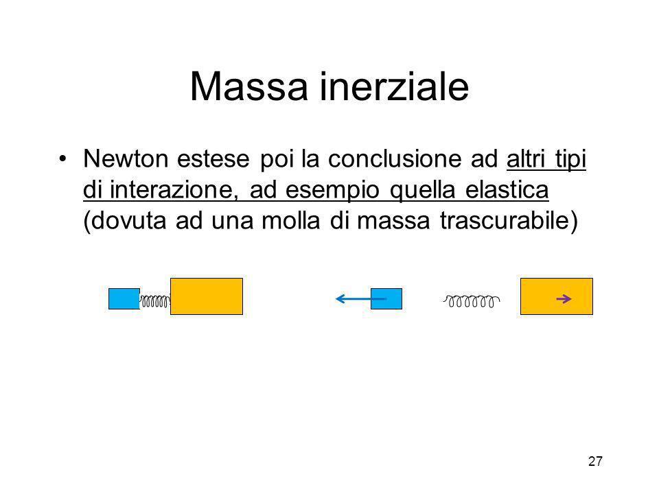 Massa inerziale Newton estese poi la conclusione ad altri tipi di interazione, ad esempio quella elastica (dovuta ad una molla di massa trascurabile)