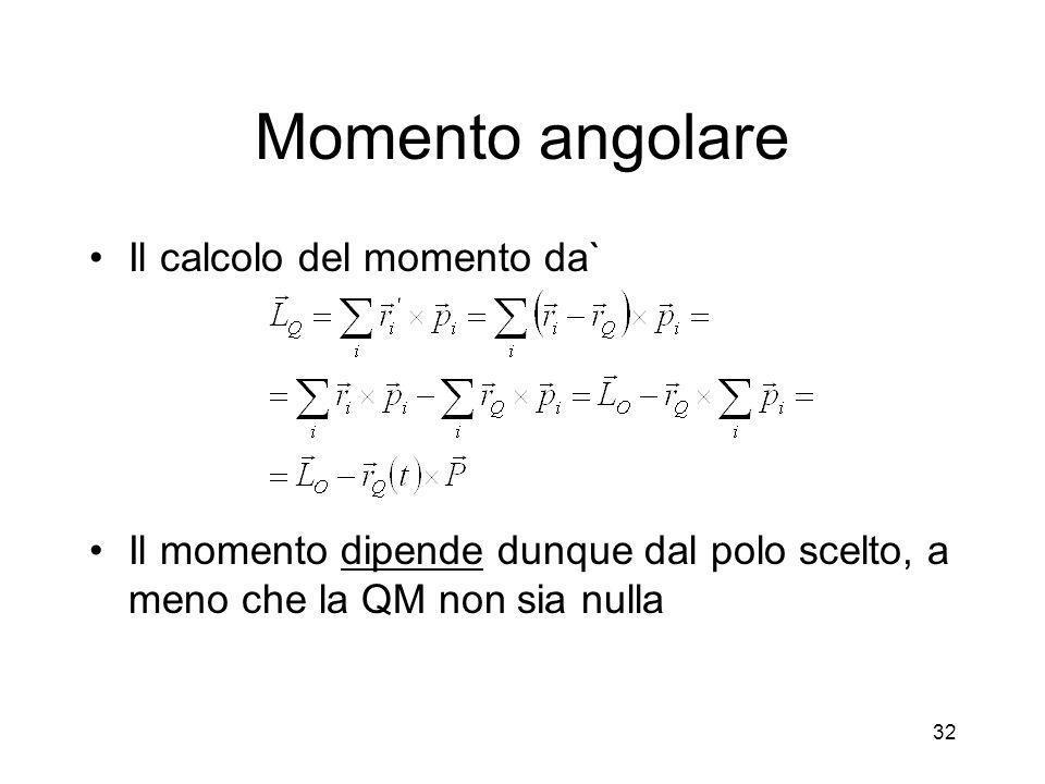 Momento angolare Il calcolo del momento da`
