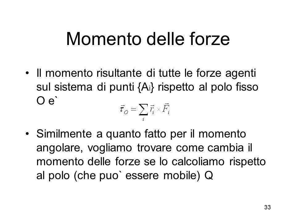 Momento delle forze Il momento risultante di tutte le forze agenti sul sistema di punti {Ai} rispetto al polo fisso O e`