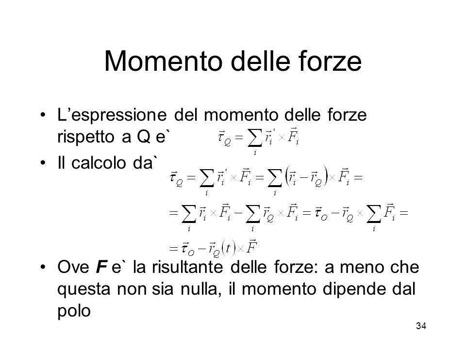 Momento delle forze L'espressione del momento delle forze rispetto a Q e` Il calcolo da`