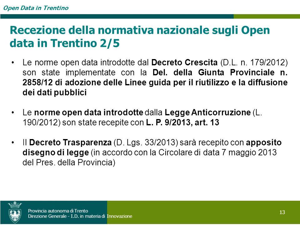 Recezione della normativa nazionale sugli Open data in Trentino 2/5