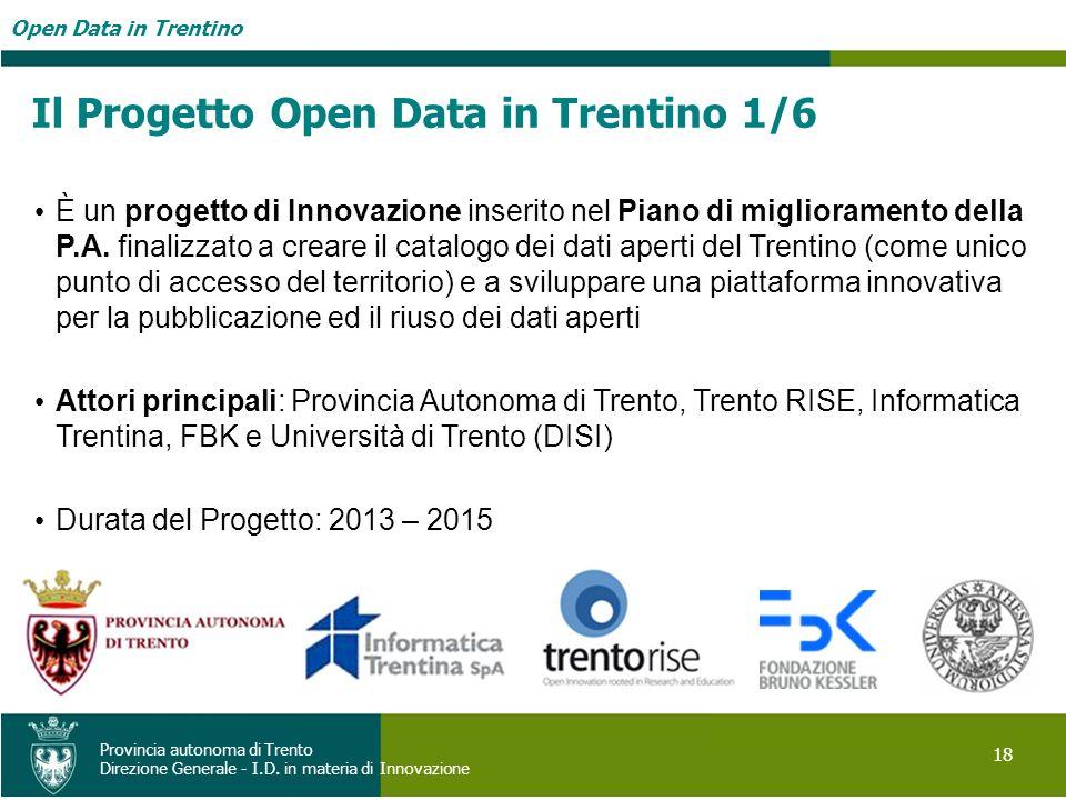 Il Progetto Open Data in Trentino 1/6