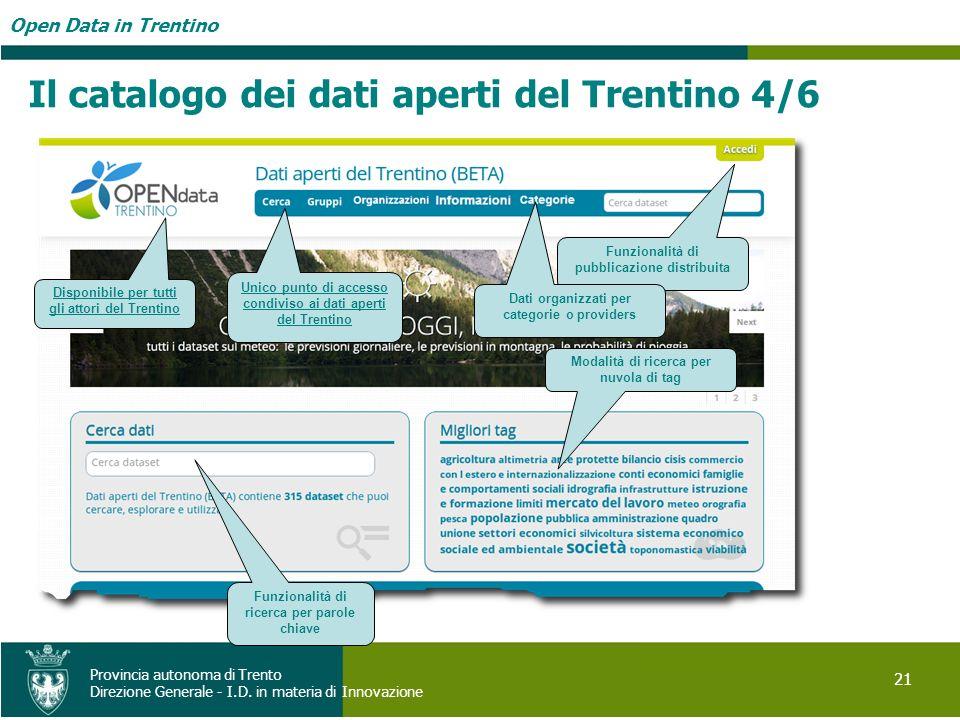 Il catalogo dei dati aperti del Trentino 4/6