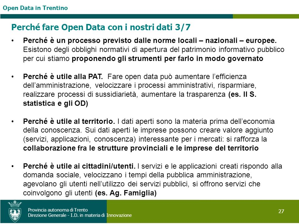 Perché fare Open Data con i nostri dati 3/7