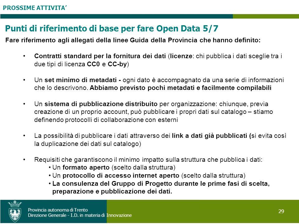 Punti di riferimento di base per fare Open Data 5/7