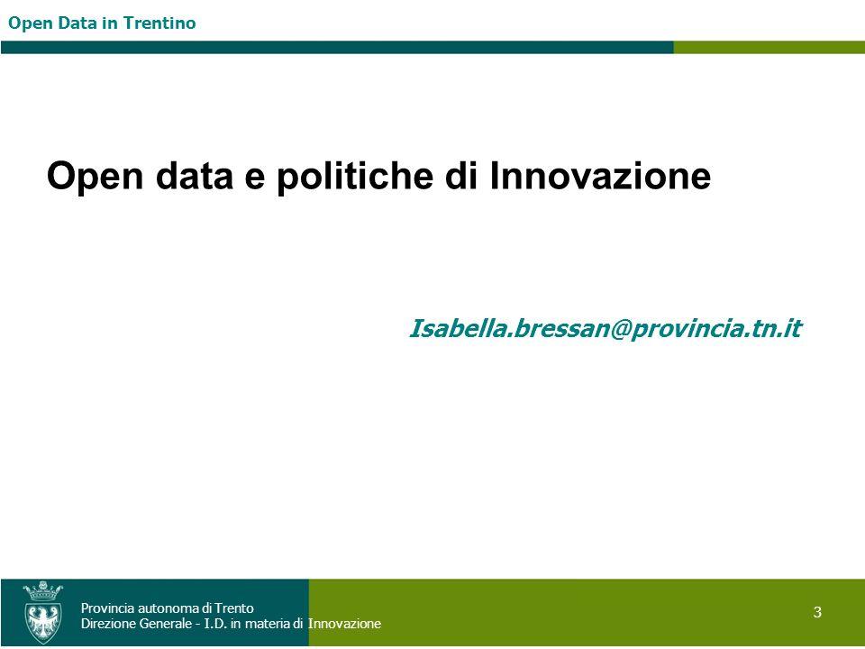 Open data e politiche di Innovazione