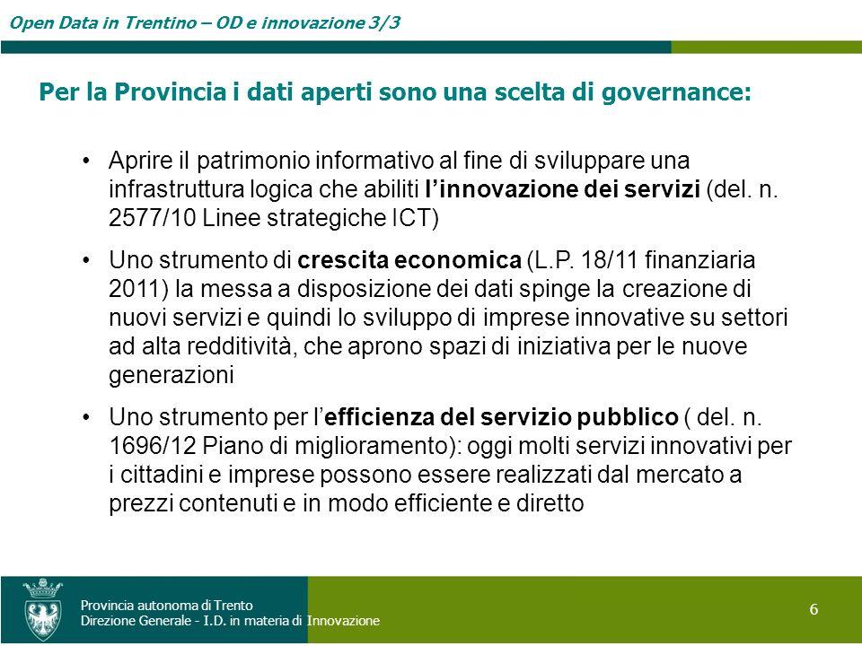 Per la Provincia i dati aperti sono una scelta di governance: