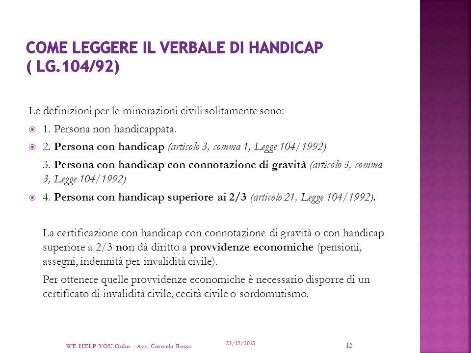 Come leggere il VERBALE DI HANDICAP ( LG.104/92)