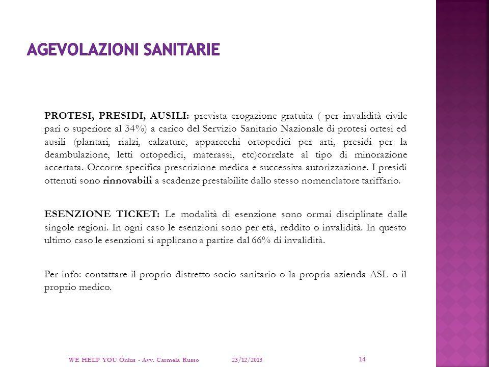 AGEVOLAZIONI SANITARIE