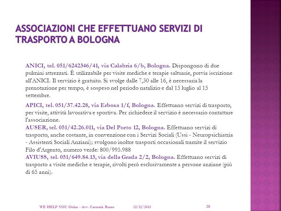 Associazioni che effettuano servizi di trasporto a bologna