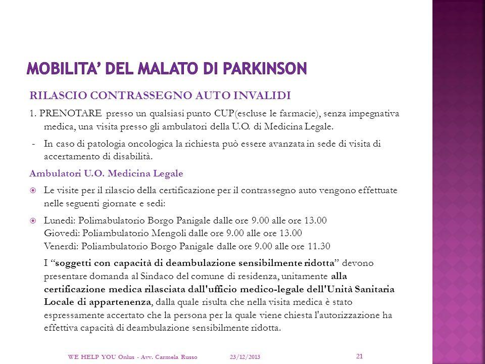 MOBILITA' DEL MALATO DI PARKINSON
