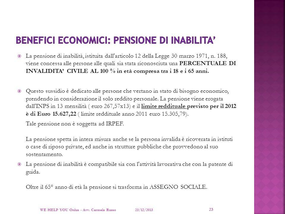 Benefici economici: PENSIONE DI INABILITA'