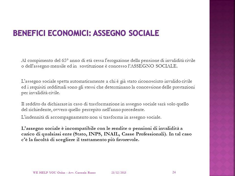 BENEFICI ECONOMICI: ASSEGNO SOCIALE
