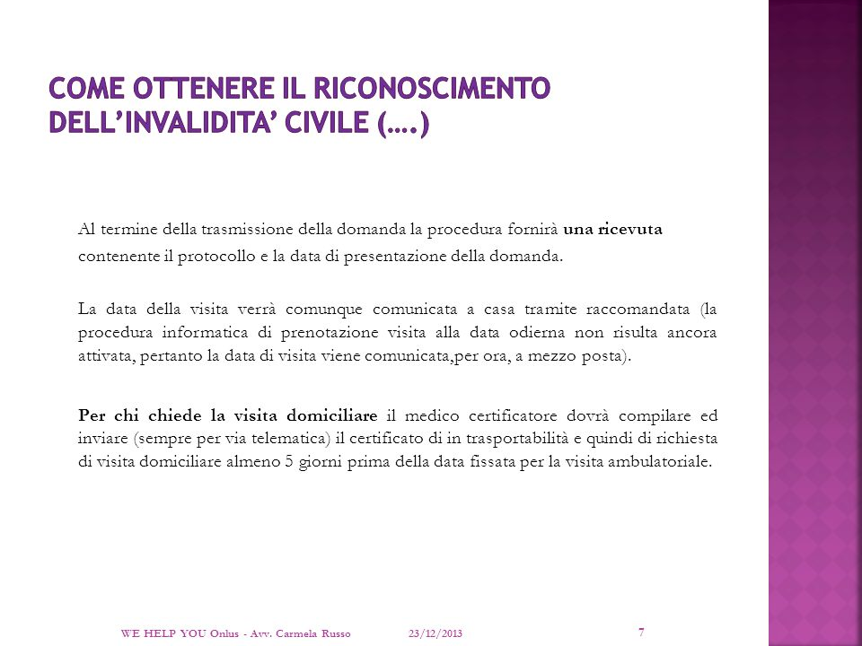 COME OTTENERE IL RICONOSCIMENTO DELL'INVALIDITA' CIVILE (….)