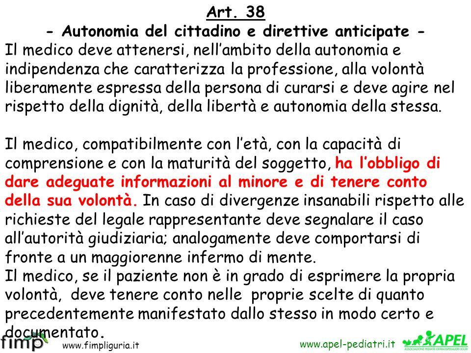 - Autonomia del cittadino e direttive anticipate -