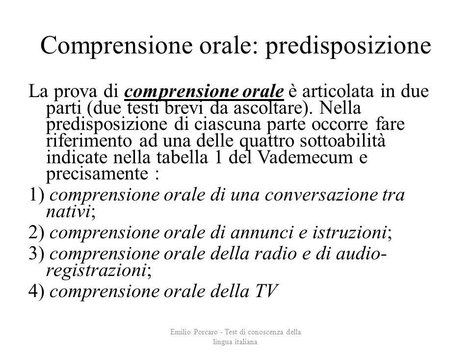Comprensione orale: predisposizione