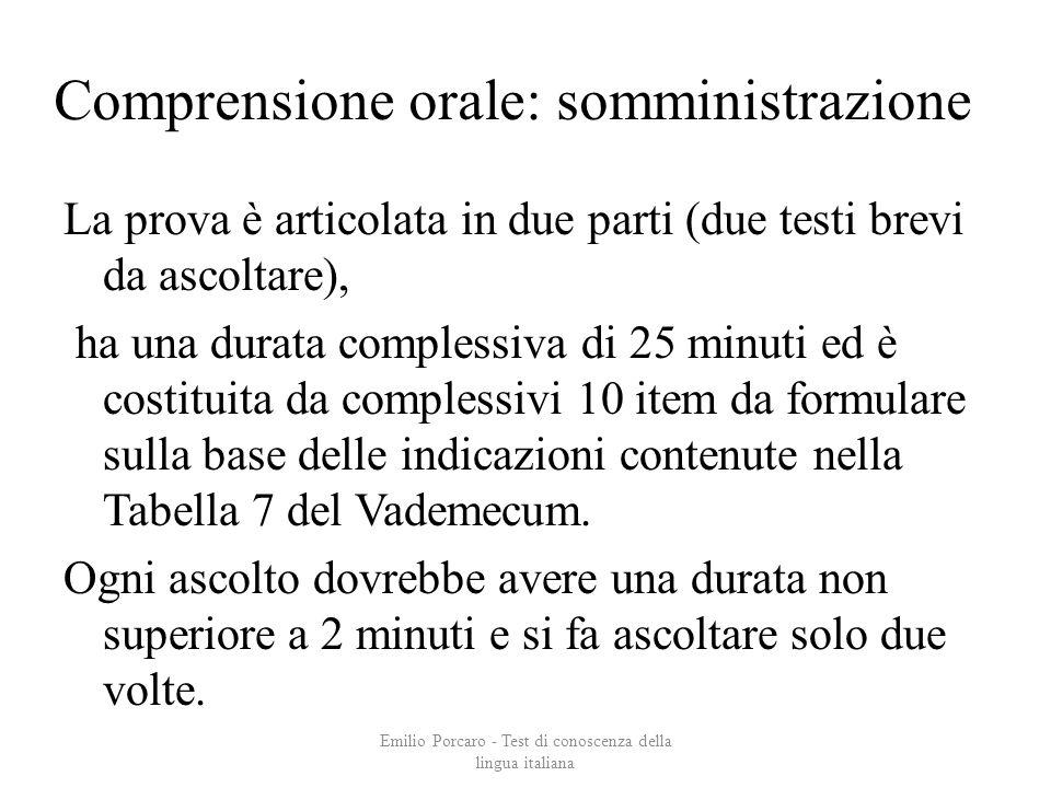 Comprensione orale: somministrazione