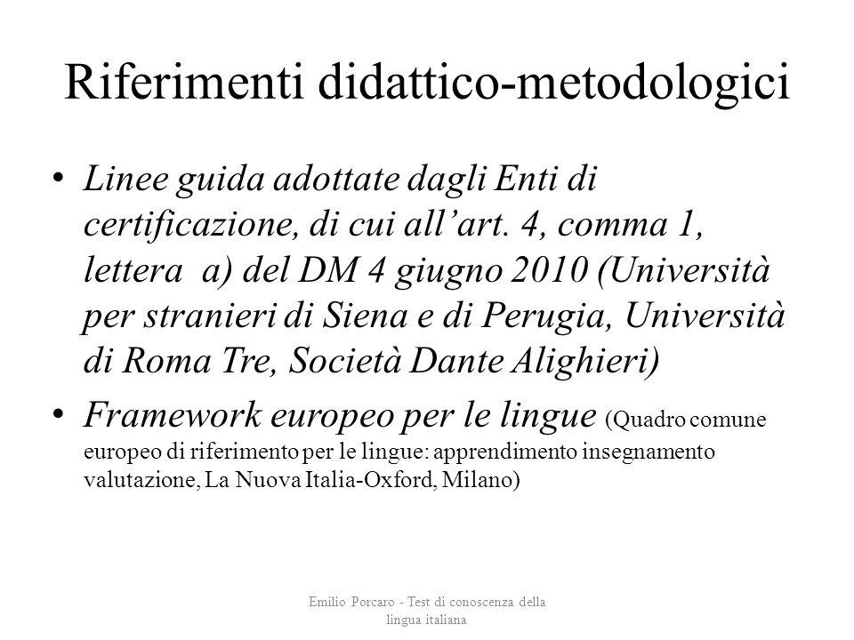 Riferimenti didattico-metodologici