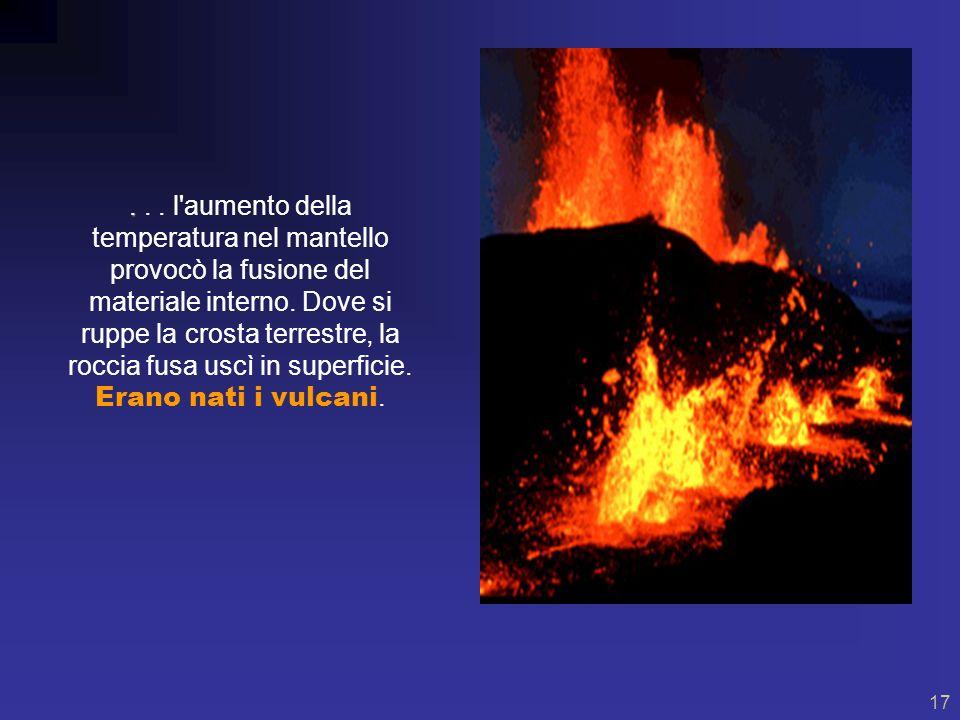 l aumento della temperatura nel mantello provocò la fusione del materiale interno.