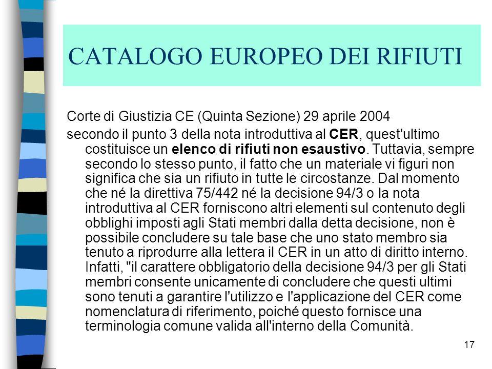 CATALOGO EUROPEO DEI RIFIUTI