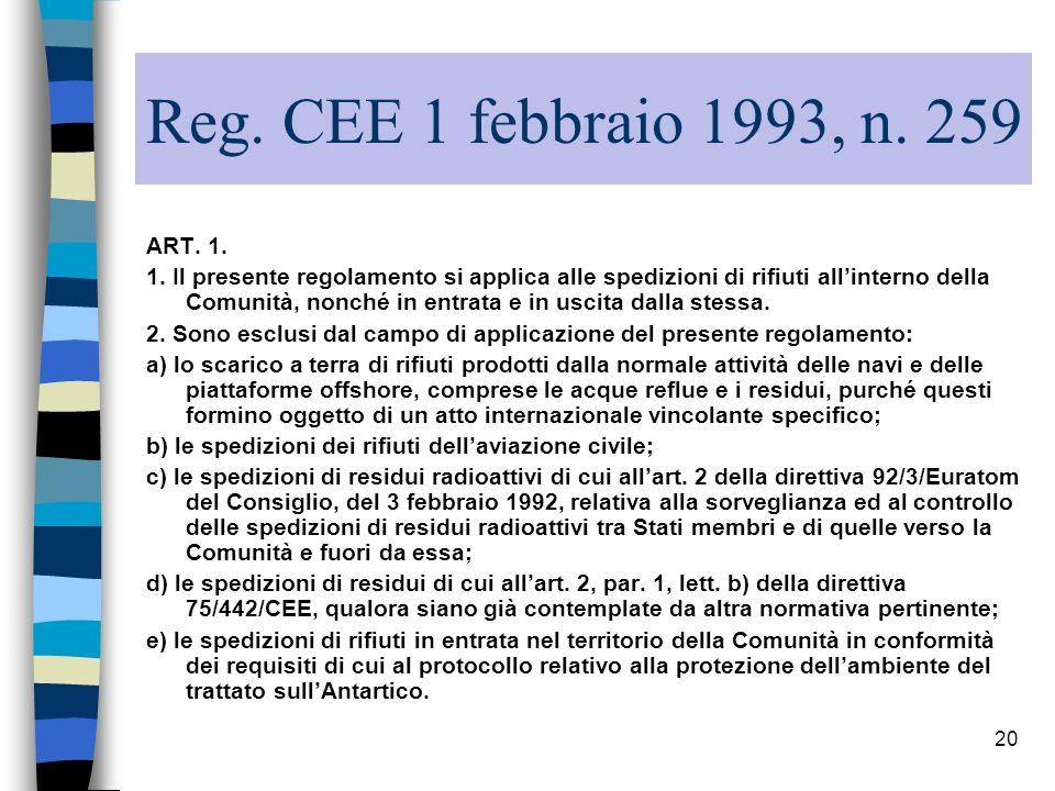Reg. CEE 1 febbraio 1993, n. 259 ART. 1.