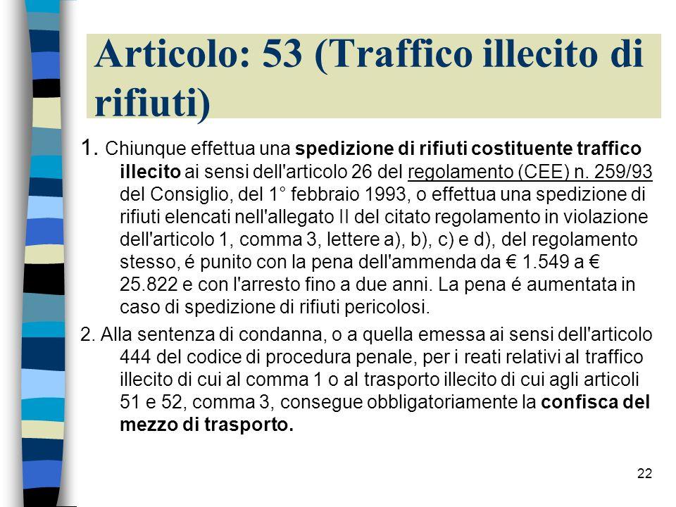 Articolo: 53 (Traffico illecito di rifiuti)