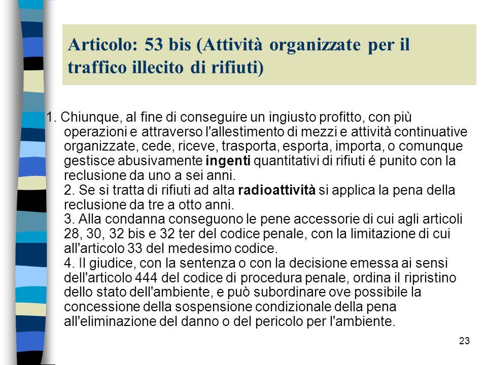 Articolo: 53 bis (Attività organizzate per il traffico illecito di rifiuti)