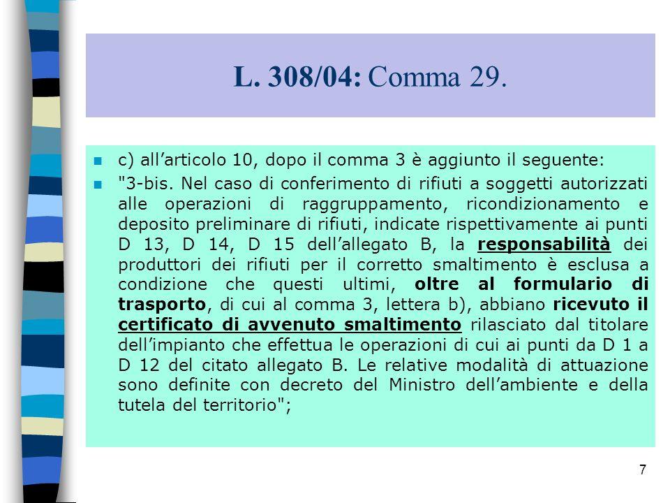 L. 308/04: Comma 29. c) all'articolo 10, dopo il comma 3 è aggiunto il seguente: