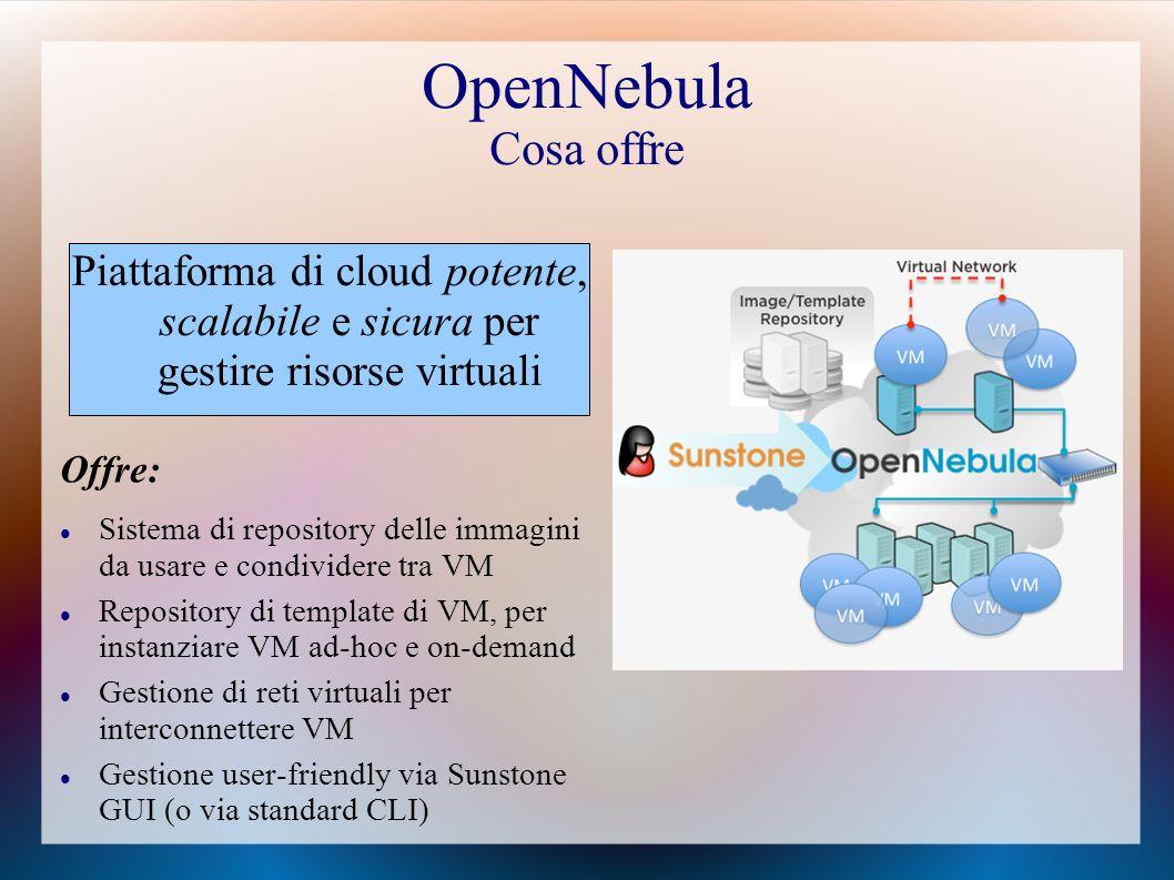 OpenNebula Cosa offre Piattaforma di cloud potente, scalabile e sicura per gestire risorse virtuali.