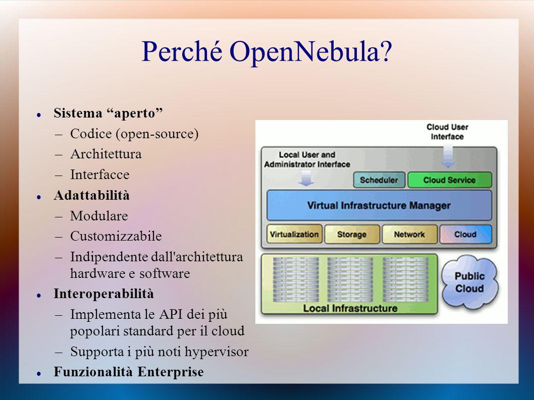 Perché OpenNebula Sistema aperto Codice (open-source) Architettura