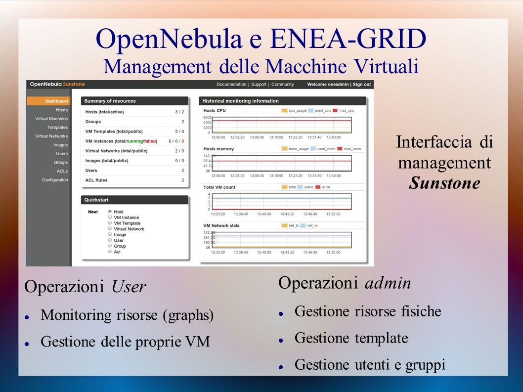 OpenNebula e ENEA-GRID Management delle Macchine Virtuali