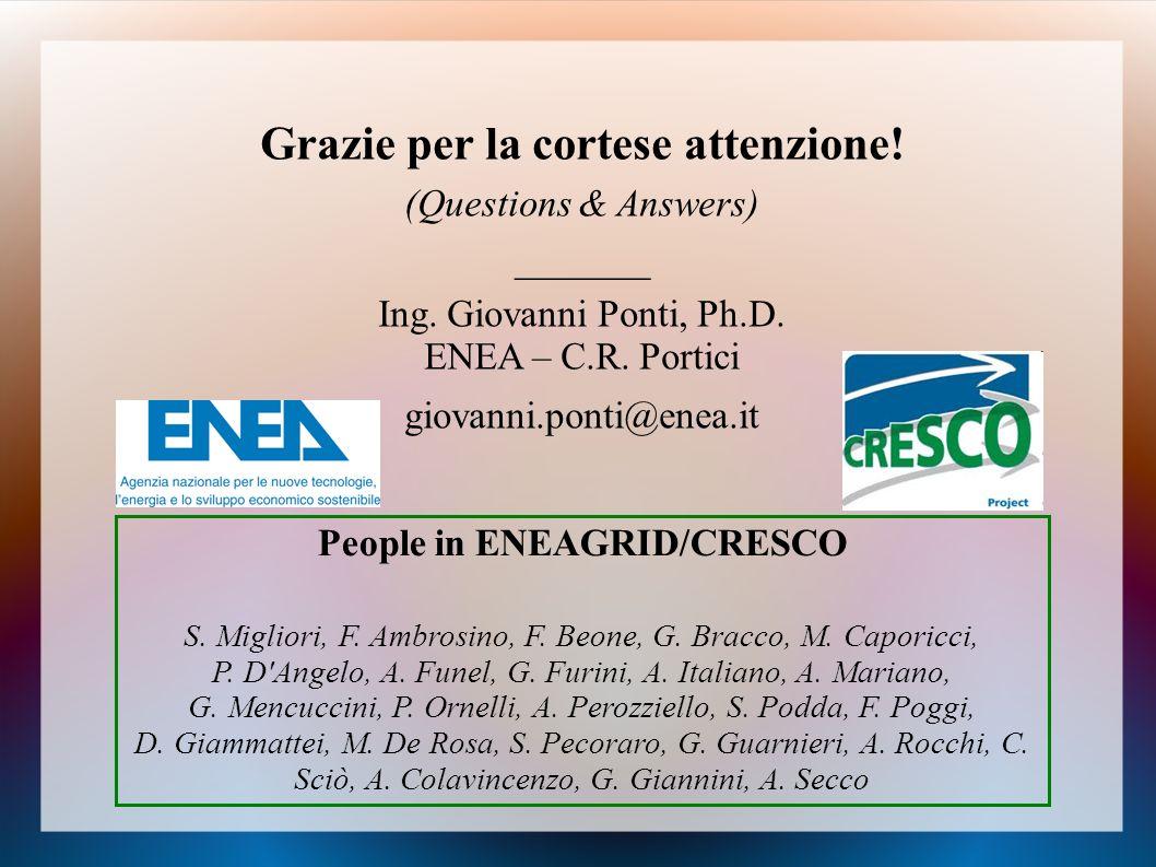 Grazie per la cortese attenzione! People in ENEAGRID/CRESCO