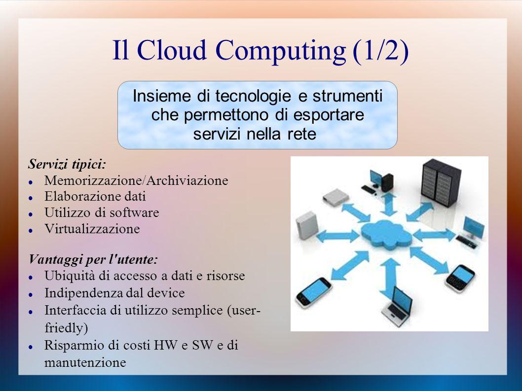Il Cloud Computing (1/2) Insieme di tecnologie e strumenti che permettono di esportare servizi nella rete.
