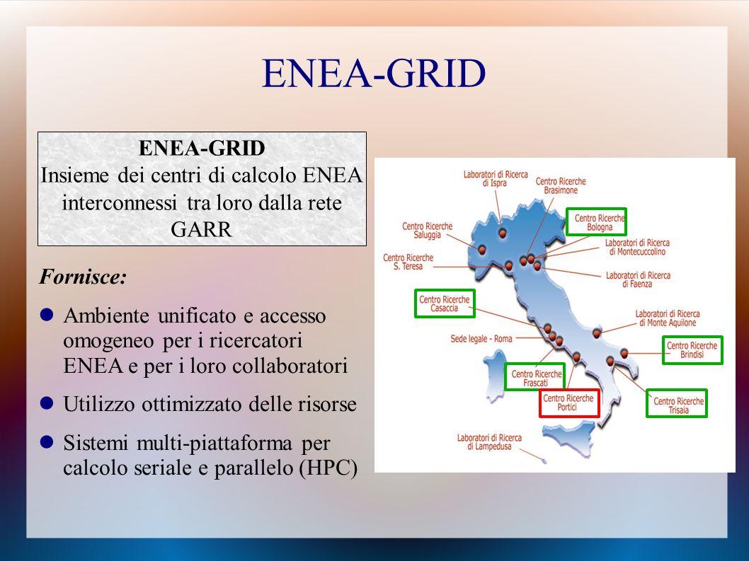 ENEA-GRID ENEA-GRID Insieme dei centri di calcolo ENEA interconnessi tra loro dalla rete GARR. Fornisce: