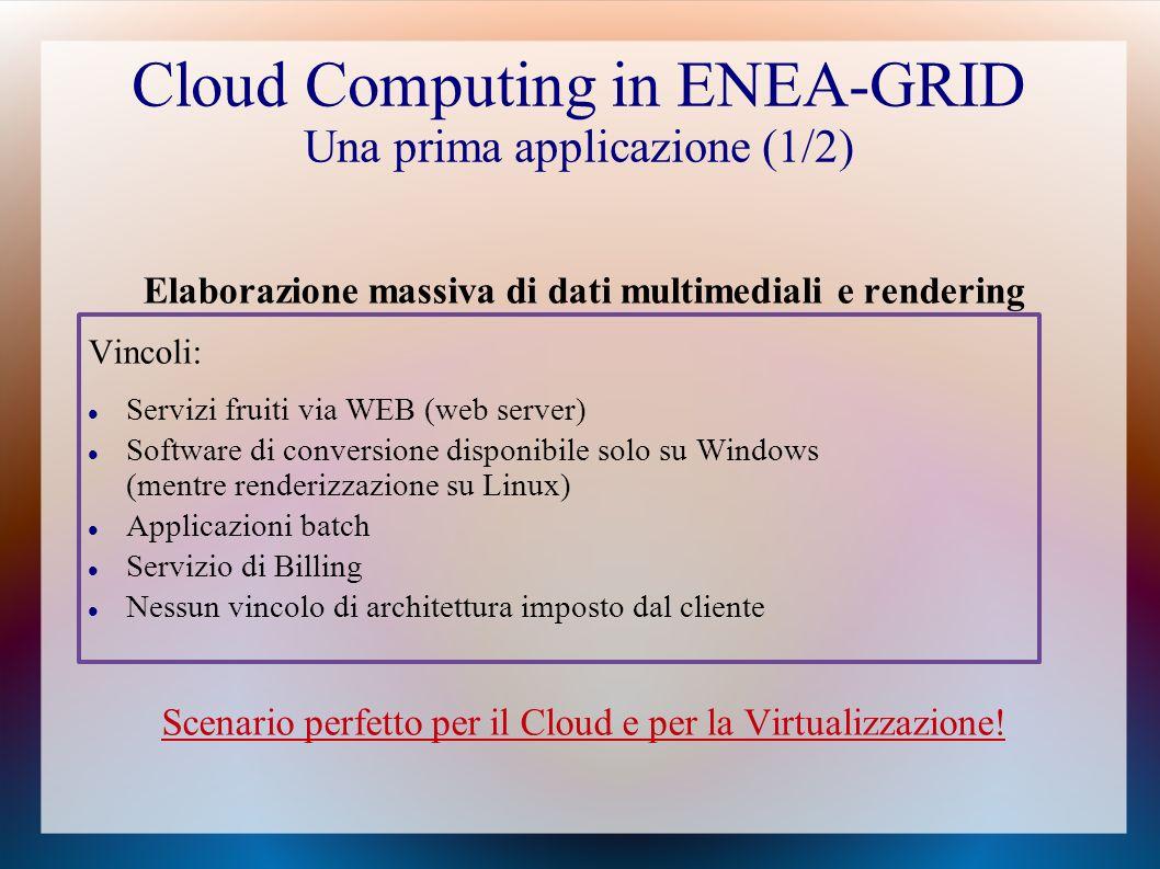 Cloud Computing in ENEA-GRID Una prima applicazione (1/2)