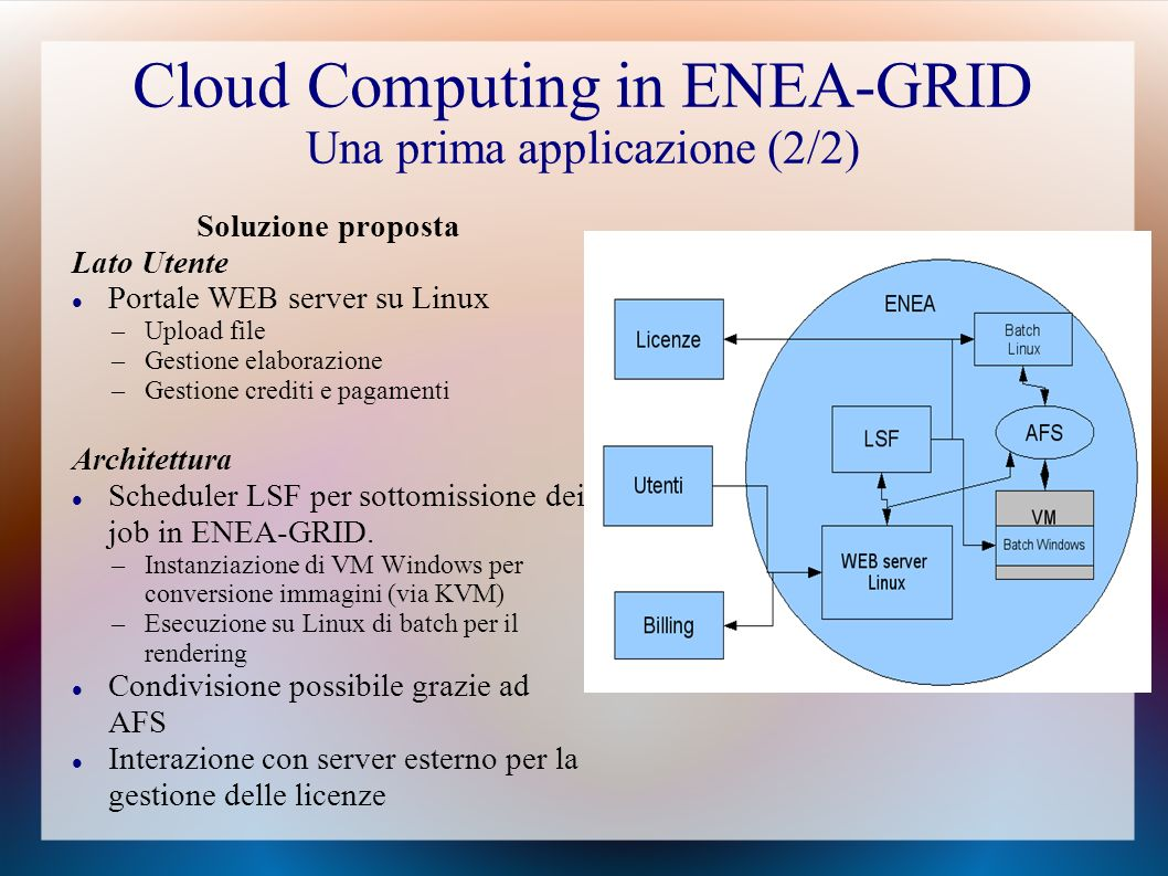 Cloud Computing in ENEA-GRID Una prima applicazione (2/2)