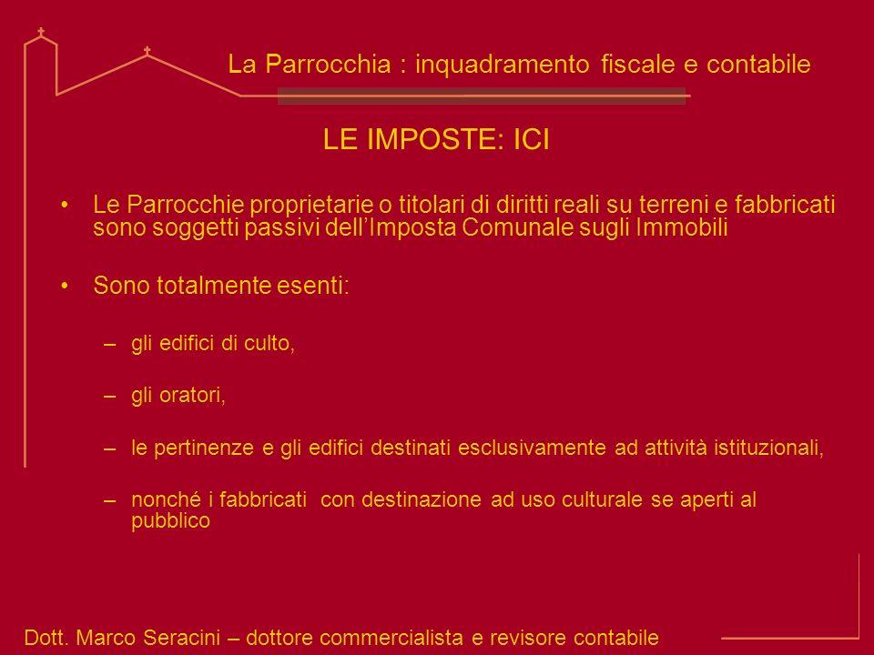 LE IMPOSTE: ICI La Parrocchia : inquadramento fiscale e contabile