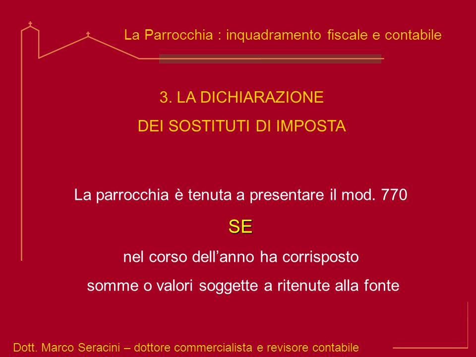 Dott marco seracini la parrocchia inquadramento fiscale for Dichiarazione 770
