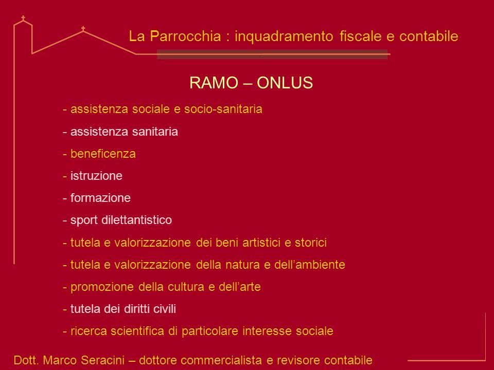 RAMO – ONLUS La Parrocchia : inquadramento fiscale e contabile