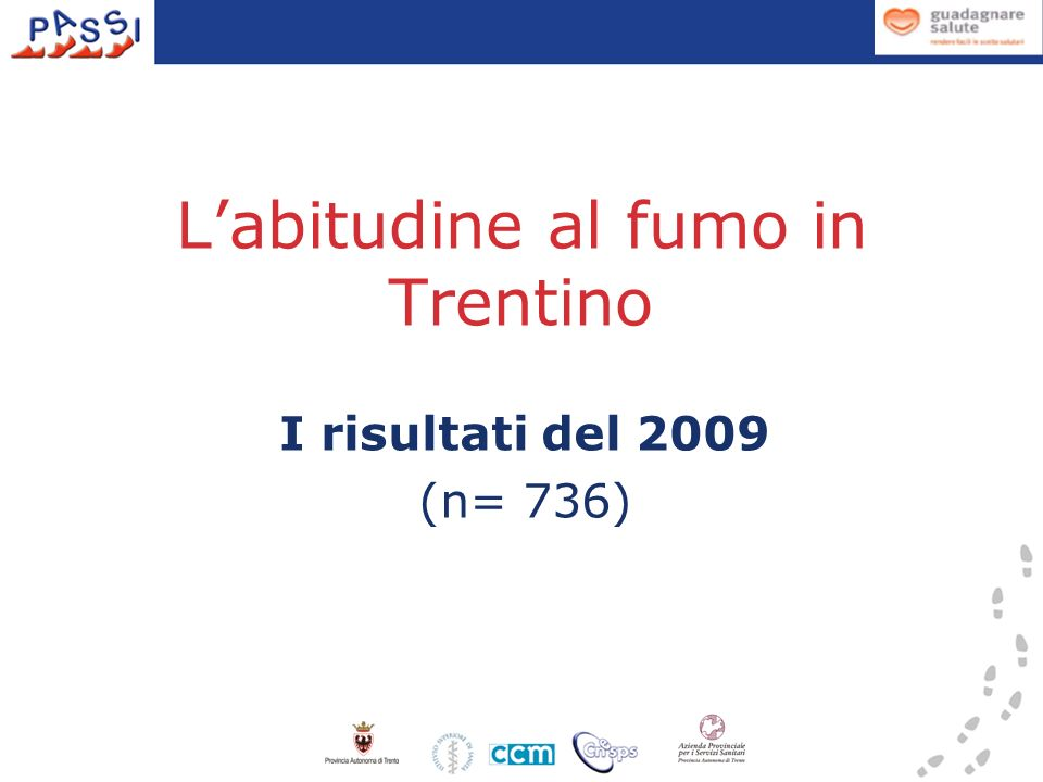 L'abitudine al fumo in Trentino