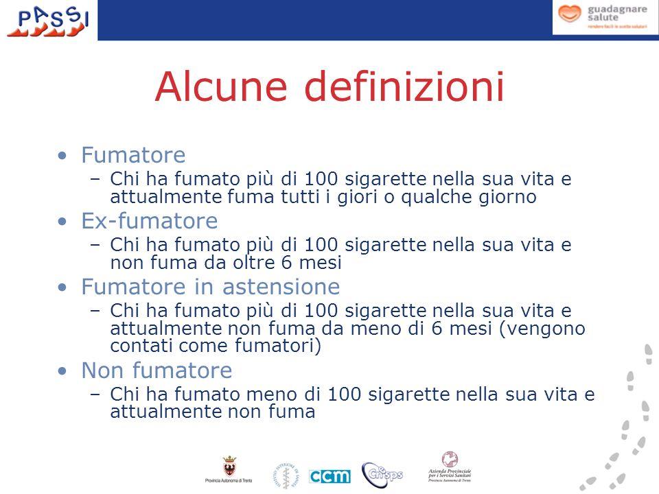 Alcune definizioni Fumatore Ex-fumatore Fumatore in astensione