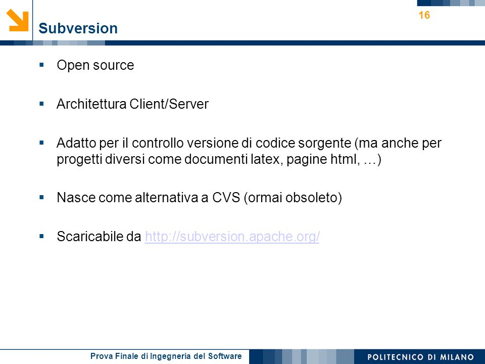 Subversion Open source Architettura Client/Server