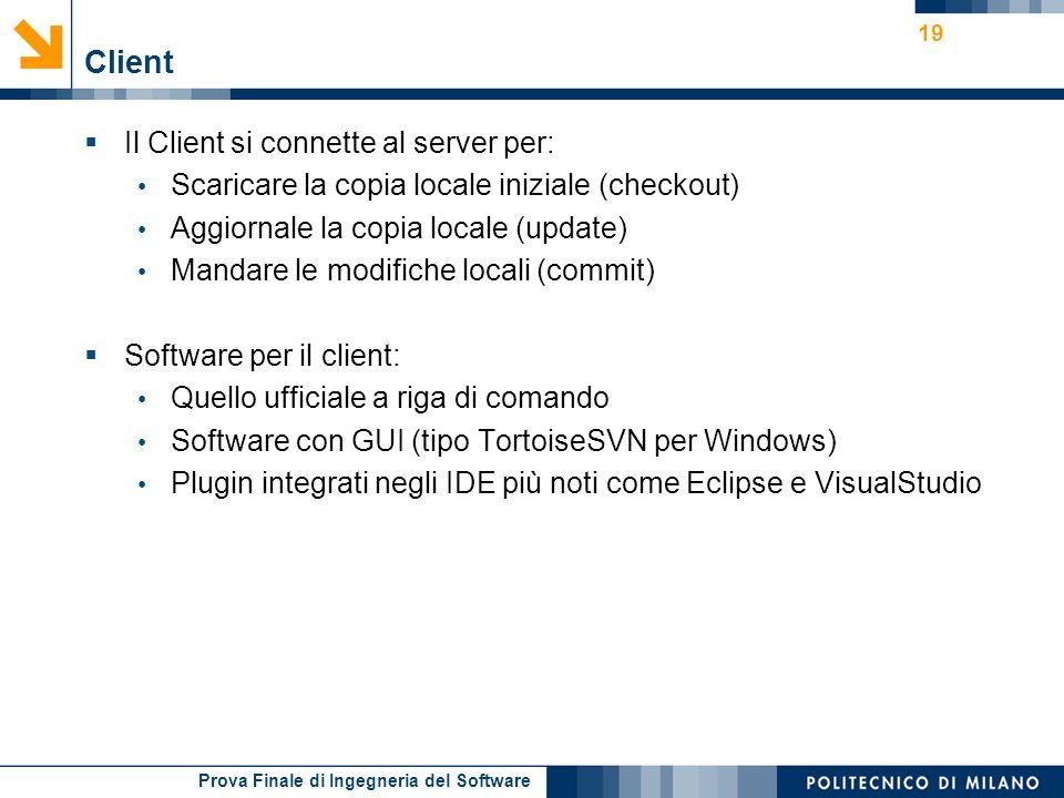Client Il Client si connette al server per: