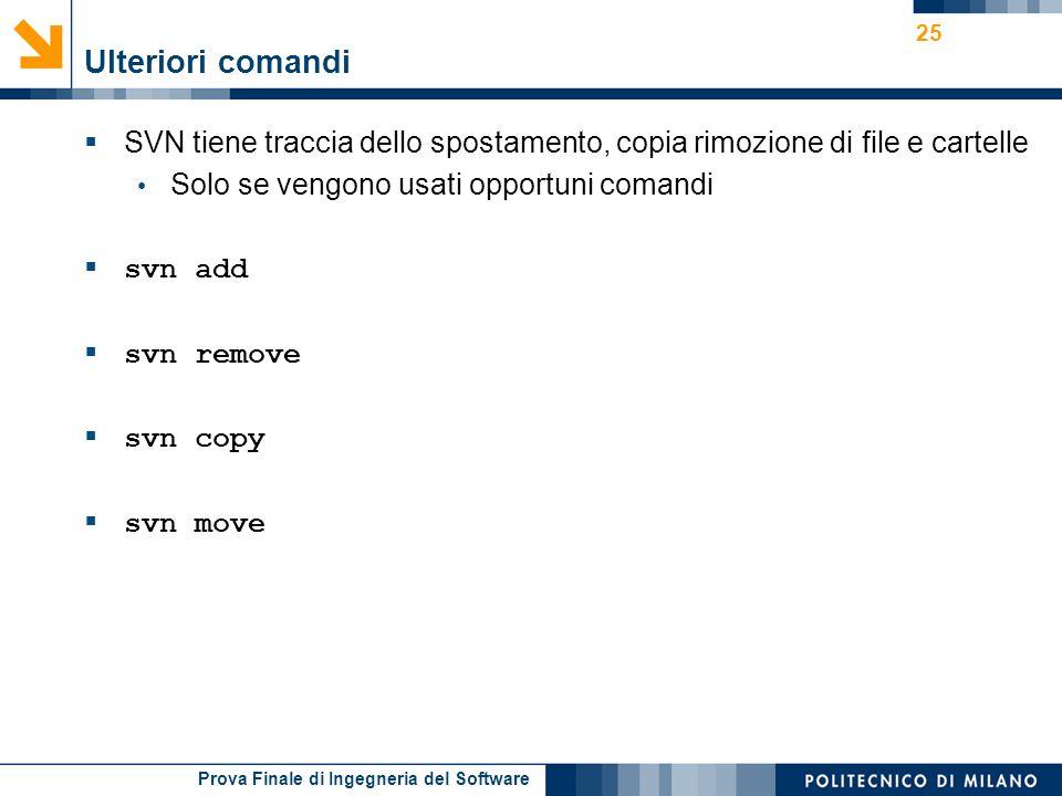 Ulteriori comandi SVN tiene traccia dello spostamento, copia rimozione di file e cartelle. Solo se vengono usati opportuni comandi.